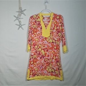 Tracy Negoshian 3/4 Sleeve Tunic Shift Dress Sz S